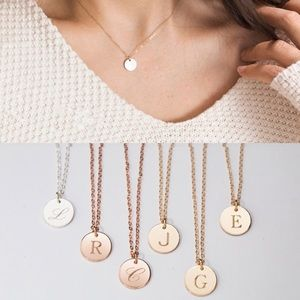 Gold Letter Circle Stamped Initial I Necklace